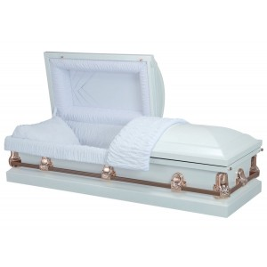 Purity White - Premium 18 Gauge Steel American Casket – Luxurious White Crepe Interior