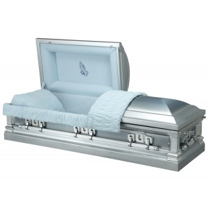 Silver Cloud - Premium Stainless Steel American Casket – Luxurious Sky Blue Velvet Interior