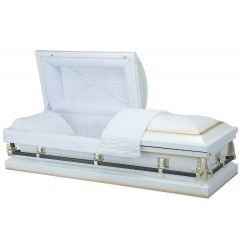 Diamond White - Premium 20 Gauge Steel American Casket – Luxurious White Crepe Interior