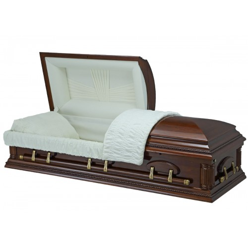 High Gloss Cherry Finish (Paulownia) - Premium Wooden American Casket – Elegant Almond Interior
