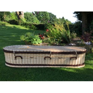 Autumn Gold Premium Wicker / Willow Creamy White with Chestnut (Oval) Coffin. CARINGLY HAND WOVEN