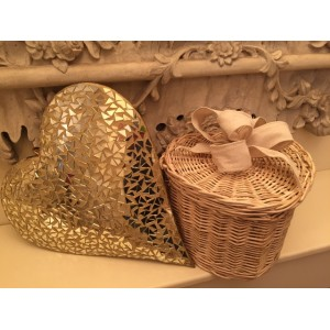 Autumn Gold Heart Shape Cremation Ashes Casket - ETERNAL BOW COLLECTION (OATMEAL HESSIAN)