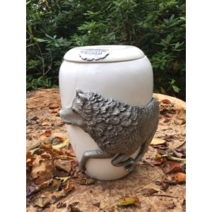Pewter Cremation Ashes Urn - Marble Effect – Guard me as I move though this world - LONE WOLF