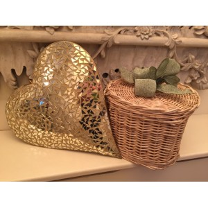 Autumn Gold Heart Shape Cremation Ashes Casket - ETERNAL BOW COLLECTION (GREEN MEADOW)