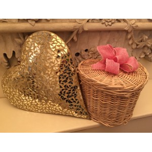 Autumn Gold Heart Shape Cremation Ashes Casket - ETERNAL BOW COLLECTION (PINK INNOCENCE)