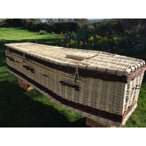 Autumn Gold Premium Wicker / Willow Creamy White with Chestnut (Traditional) Coffin. NEW DESIGN