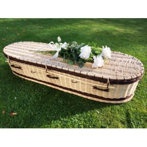 Autumn Gold Premium Wicker / Willow Creamy White with Chestnut (Oval) Coffin. ** CARINGLY WOVEN**
