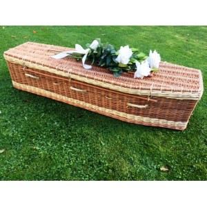 Autumn Gold Premium Wicker / Willow Brown & Cream (Traditional) Coffin **FINEST HANDMADE**