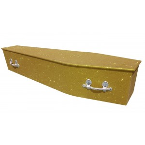 Glittering Wooden Coffin - Vegas Gold **LIMITED OFFER - FREE Personalisation & Photo's**