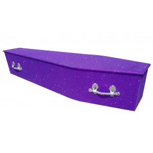 Glittering Wooden Coffin – Amethyst Purple **LIMITED OFFER - FREE Personalisation & Photo's**
