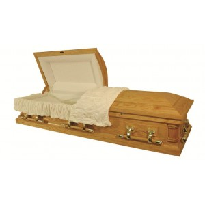 Honeycomb Veneered Oak Casket