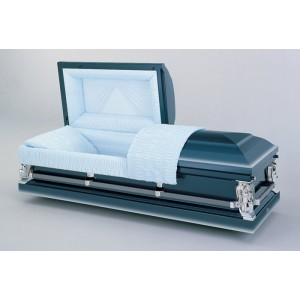 Cobalt Blue Premium Casket. Respectful Dignity