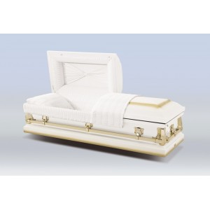 The Abingdon - Alpine White American Casket - White Crepe Interior