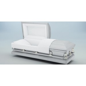 Avante Silver Casket - Ivory Crepe Interior - Low Cost American Style Funeral Caskets