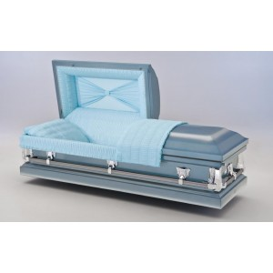 The Abingdon - Ascot Blue American Casket - Blue Crepe Interior