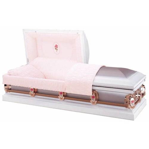 Athena Rose (18 Gauge Steel) Premium American Casket - Moss Pink Crepe Interior