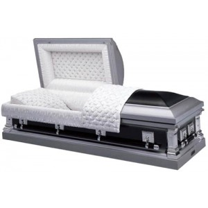 Two Tone Black Star Sapphire Silver (18 Gauge Steel) American Style Casket - Exquisite Quality - Low Prices