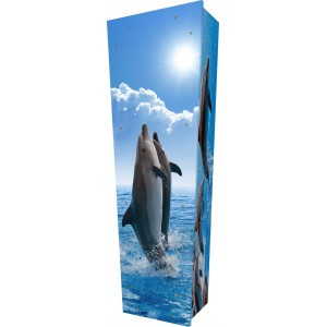 Ocean Dolphins - Personalised Picture Coffin with Customised Design - Call for prices.