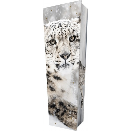 Snow Leopard - Personalised Picture Coffin with Customised Design.