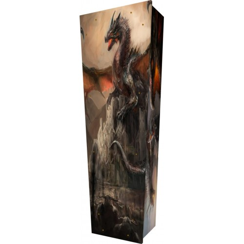 Dragons Den - Personalised Picture Coffin with Customised Design.