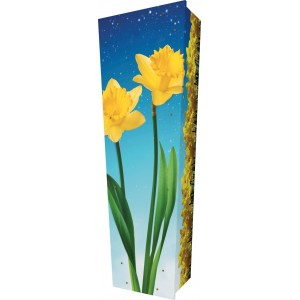 Daffodil Shine Bright - Personalised Picture Coffin with Customised Design.