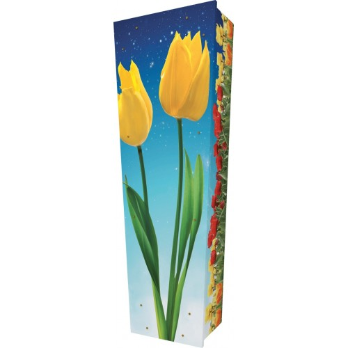 Tulips in Bloom - Personalised Picture Coffin with Customised Design.