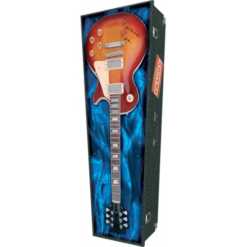 Rockin Guitar - Personalised Picture Coffin with Customised Design.