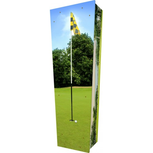Golfer - Personalised Picture Coffin with Customised Design - Call for prices.