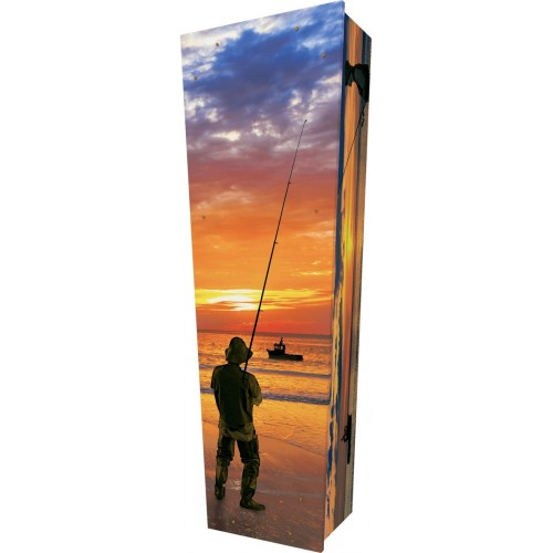 The Catch (Sea Fishing) - Personalised Picture Coffin with Customised Design - Call for prices.