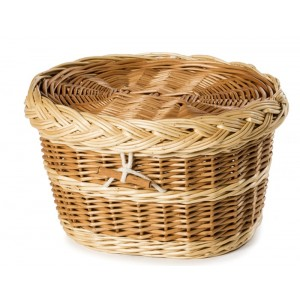 Premium English Wicker / Willow Cremation Ashes Urn / Casket – Natural Brown & Creamy White
