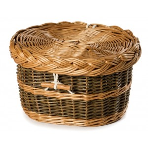 Premium English Wicker / Willow Cremation Ashes Urn / Casket – Natural Brown & Fern Green