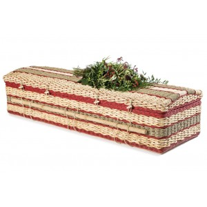 Premium Banana Imperial (Cerise) Casket. Eco Friendly Fair Trade Coffins