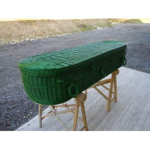 Your Colour Wicker / Willow Coffins - FERN GREEN - Also available in a wide range of alternative colours