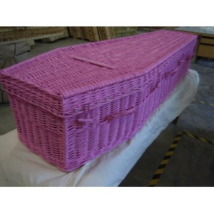 Your Colour Wicker (Traditional) Coffins – FUSCHIA PINK - Available in a range of  DULUX colours
