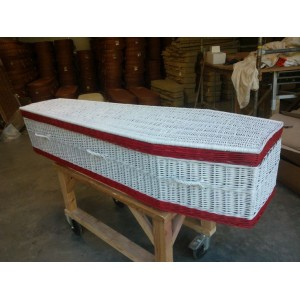 Your Colour - Wicker / Willow Coffins – RED & WHITE  - Also available in a wide range of alternative colours