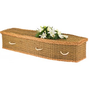 English Wicker / Willow Eco Elite Imperial Traditional Coffin – Fern Green & Natural