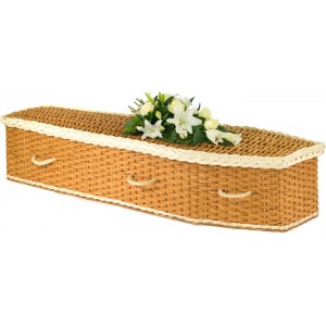 English Wicker / Willow Eco Elite Imperial Traditional Coffin – Creamy White & Natural