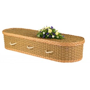 English Wicker / Willow Eco Elite Imperial Oval Coffin – Fern Green & Natural