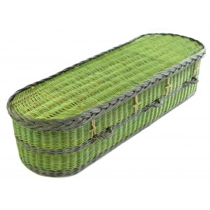 English Wicker / Willow Imperial Oval Coffin – TWO TONE MEADOW GREEN