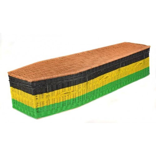 Your Colour – Wicker / Willow Imperial Coffin – WORLD FLAGS – JAMAICA – Choose your own flag design