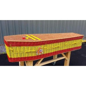 Your Colour – Wicker / Willow Imperial Coffin – WORLD FLAGS – SPAIN – Choose your own flag design