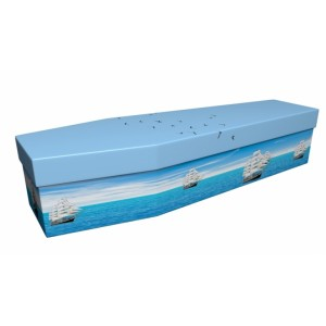 GALLIONS IN FULL SAIL - Military & Patriotic Design Picture Coffin
