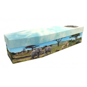 Elephant Safari - Animal & Pet Design Picture Coffin