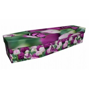 Fluttering Beautiful Butterflies - Animal & Pet Design Picture Coffin