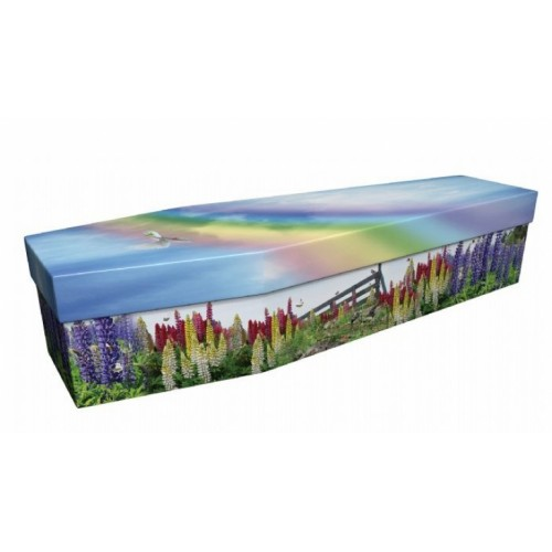 Colourful Lupins - Floral Design Picture Coffin