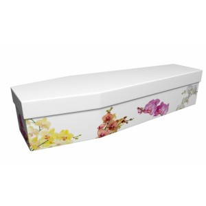Delicate Orchids - Floral Design Picture Coffin