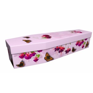 Summer Butterfly with Pink Fuchsia - Floral Design Picture Coffin