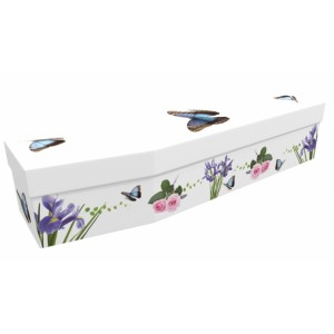 Summer Butterfly with Iris & Roses - Floral Design Picture Coffin