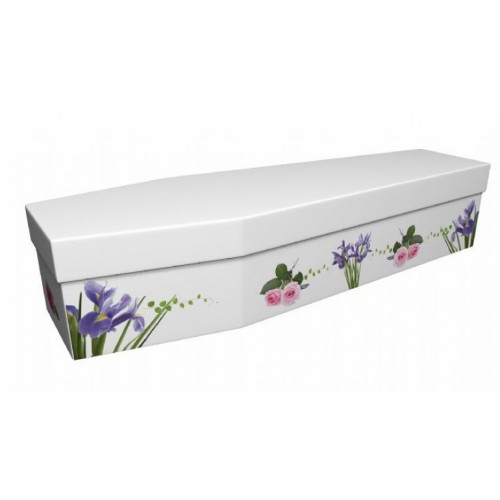 Wild & Thorny (Iris & Roses) - Floral Design Picture Coffin
