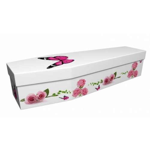 Summer Butterfly with Flowering Rose - Floral Design Picture Coffin